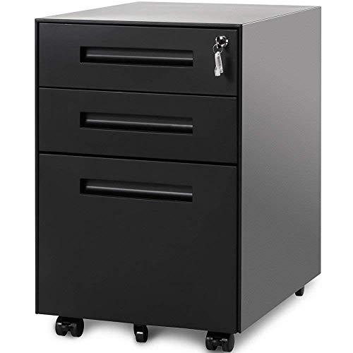 ATNR Cajonera de oficina con cerradura, 3 cajones y 5 ruedas, para casa, oficina, casa, oficina, casa, armario de oficina de acero, premontado, color negro