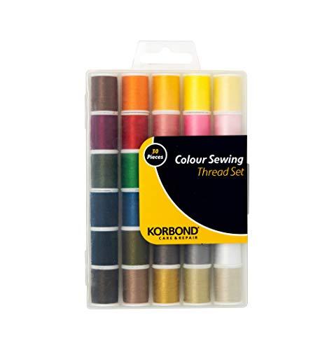 Korbond Vollgarn Set 1350m-30x45m Farben - Hand- und Maschinennähen, Reparaturen, Basteln, mehrfarbig, 30 Spule