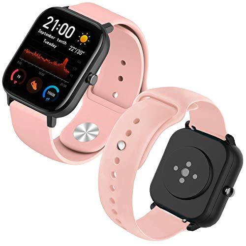 Th-some Correa para Amazfit GTS Smartwatch Reloj de Pulsera Compatible con Amazfit GTS/Amazfit Bip/Amazfit GTR 42mm Band Silicona