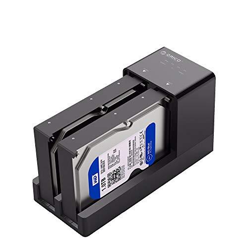 ORICO Dual bay Docking Station Hard Disk USB 3.0 Dischi Rigidi SATA 2.5 e 3.5 Pollici HDD e SSD Involucro Esterno per Windows XP, Vista, Mac OS e Linux - Nero