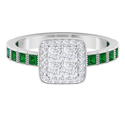 Anillo solitario ilusión, anillo de boda vintage, 1/2 quilates corte princesa anillo esmeralda, HI-SI 0,8 quilates anillo halo de diamante, 14K Oro blanco, esmeralda, Size:EU 46