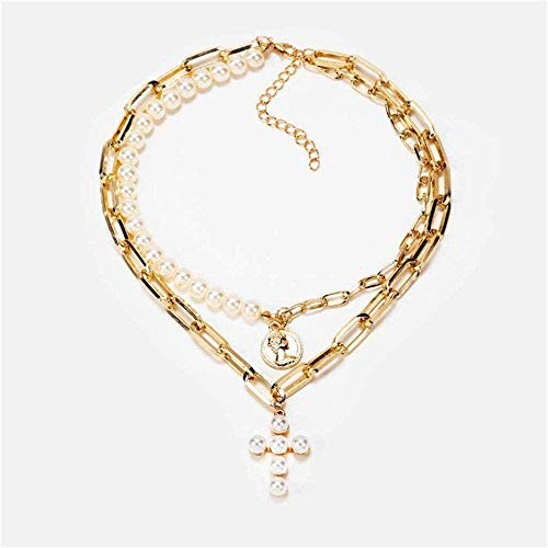 quanjiafu Necklace Vintage Cross Pearl Choker Necklace for Woman Collar 2020 Double Layer Bead Gold Necklace for Couple Jewelry Necklace