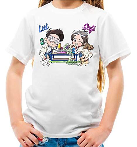 Maglietta Youtuber Fumetto Lui Bambino e Sofi Bambina Slime Lab (7-8 Anni)
