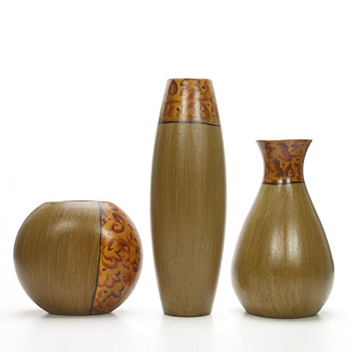 Hosley Set of 3 Burlwood Finish Vases is an Ideal Gift for Weddings or Special Occasion and for Home or Office Decor Floor Vases Spa Aromatherapy Settings...