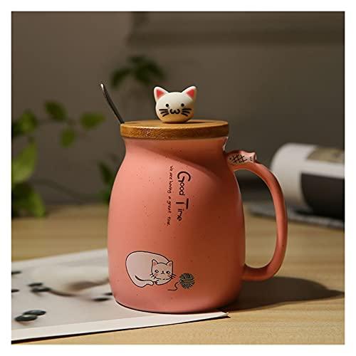 Taza de café de cerámica linda de estilo japonés con cucharada de tapa, taza de té de porcelana fina de porcelana, taza de la oficina de la oficina del hogar, cadmio sin plomo 450 ml ( Color : Pink )