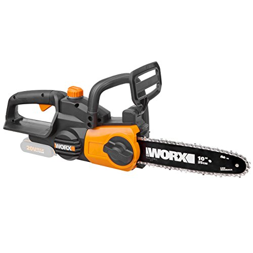Worx WG322E.9 Accu-kettingzaag, 20 V, handige houtzaag voor tuin en bouwwerkzaamheden, met 25 cm snijlengte en automatische kettingspanning.