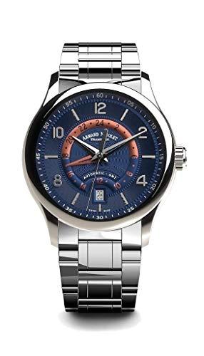 Armand Nicolet M02-4 - Orologio automatico GMT con cinturino in acciaio...