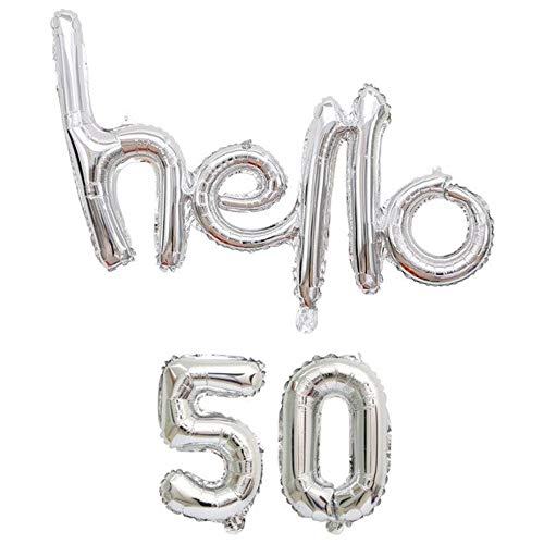DIWULI, Hello 50 Luftballon, Silber, Zahlen-Ballon, Buchstaben-Ballon Banner, Zahlenluftballons, Folien-Luftballons Nummer Nr Jahre, Folien-Ballons, 50. Geburtstag, Party, Dekoration, Geschenk-Deko