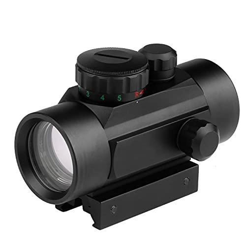 Dandelion 1x30 Mirino a punto rosso Rosso Verde 5 impostazioni di luminosità Con diapositiva binario da 20 mm e coperture protettive per cannocchiale da puntamento per la caccia