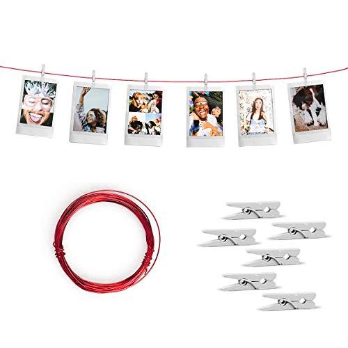 Varal de Fotos Decorativo Vermelho 5m c/ 30 Prendedores