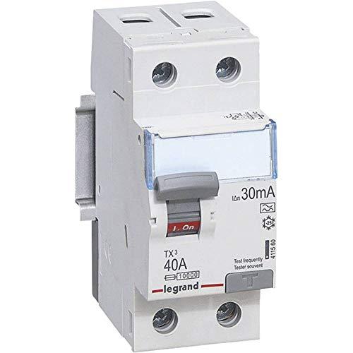 Legrand 411560 TX3 FI Disjoncteur de courant résiduel, 40a, 2p, 30mA