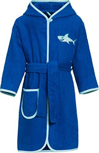 Playshoes Jungen Kinder Frottee Hai mit Kapuze Bademantel, Blau (Blau 7), 110 (Herstellergröße: 110/116)