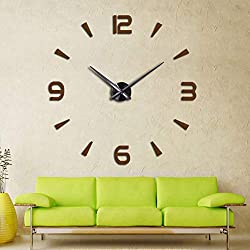FASHION in THE CITY 3D DIY Wall Clock Creative Design Mirror Surface Wall Decorative Sticker Watches (Coffee)
