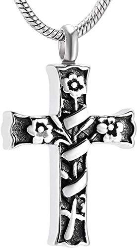 Collana con scatola a croce incartata a fiori per gioielli commemorativi in acciaio inossidabile da donna
