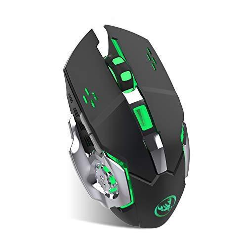 Salandens Mouse inalámbrico recargable para gamers. Mouse óptico inalámbrico y súper silencioso de 2.4 Ghz con luz LED ideal para...