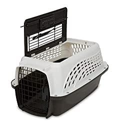 The Petmate dog carrier provides easy access with a top opening door