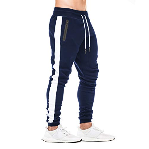 FEDTOSING Herren Jogginghose Fitness Sporthose Baumwolle Slime Fit Hose Joggers Streetwear Freizeithose Laufen Trainningshose Navy L
