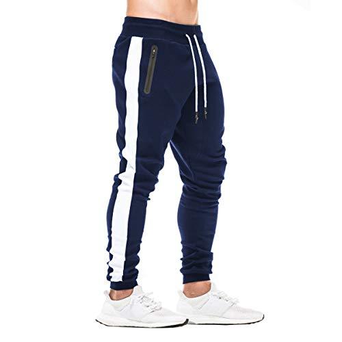 FEDTOSING Herren Jogginghose Fitness Sporthose Baumwolle Slime Fit Hose Joggers Streetwear Freizeithose Laufen Trainningshose Navy M