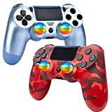 YU33 2 Pack Wireless Controller Compatible with Playstation 4 System, for PS4 Remote with 2pack Charging Cables and Double Shock, (Titanium Blue + Red Camouflage,2021