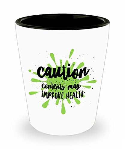 Funny Healthy Shot Glass Gift Caution Contents May Improve Health for Wheatgrass Lemon Juice Liver and Gallbladder Cleanse Health The Best Christmas
