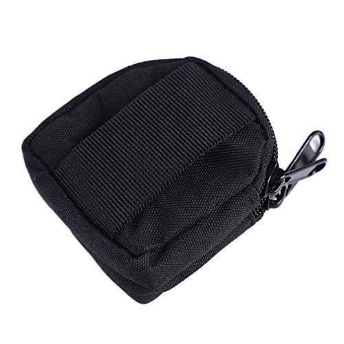 MOONQING Small Belt Minimalist Mens Wallet Waist Credit Card Holder Coin Purse Change Zipper Pouch Cash Bag,Black