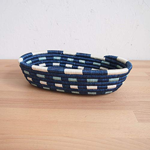 African Bread Basket- Nshili/Sisal and Sweetgrass/Woven Basket/Made in Rwanda/Blues, White