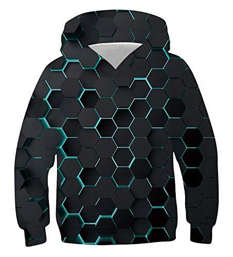 Fanient Teens Neuheit Sweatshirts 3D Gedruckt Kürbis Pullover Langarm Mit Kapuze Kinder Sweatshirt Tops für Halloween L