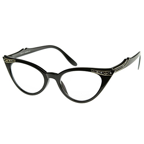 KISS Gafas neutrales CAT EYE mod. PIN-UP CRYSTALS - marco óptico MUJER fashion vintage - NEGRO