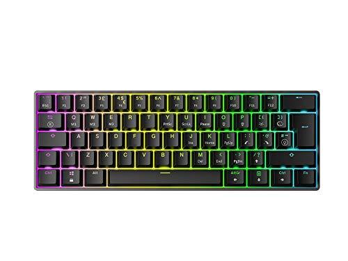 Mizar MZ60 Luna Hot-Swap Mechanische Gaming-Tastatur - 62 Tasten Mehrfarbige RGB-LED-Hintergrundbeleuchtung für PC-/Mac-Spieler - ISO Großbritannien Layout (Schwarz, Gateron Red)