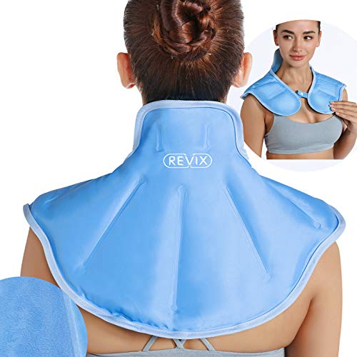 REVIX Shoulder Ice Pack for Neck and Shoulders Upper Back Pain Relief Large Neck Ice Pack Wrap with Soft Plush Lining Reusable Gel Cold Compress for Rotator Cuff Injuries Swelling Surgery Recover