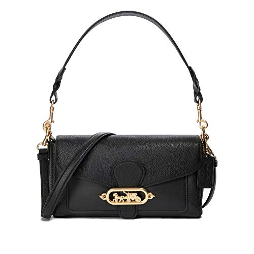 Coach Women's Three Leather Jade Shoulder Handbag (Black/Gold)