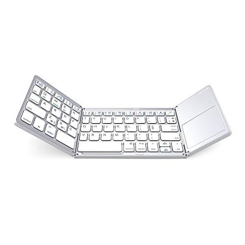 Leiouser Tri plegable plegable Bluetooth teclado inalámbrico con sensible Touch Pad Mouse para teléfono PC Tablet