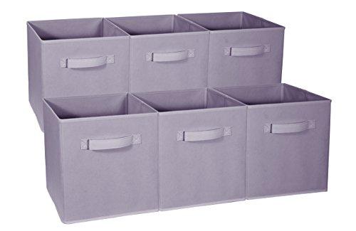 Sorbus Foldable Storage Cube Basket Bin - Great for Nursery, Playroom, Closet, Home Organization (Pastel Purple, 6 Pack)