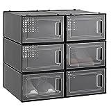 Navaris Cajas para almacenaje apilables - Set de 6X Caja de Zapatos Negra con...