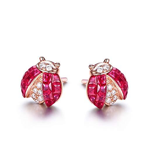 ANAZOZ Pendientes Mujer Compromiso Oro Rosa Pendientes Oro Rosa 18K Mujer Pendientes Mariquita Rubí Rojo Blanco 0.83ct Diamante Blanco 0.099ct