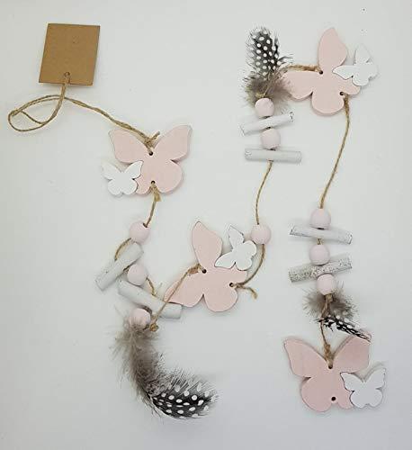 Deko-Girlande Holz Frühling Schmetterling, Herz, Vogel, Federn rosa weiß Vintage ca. 90 cm lang