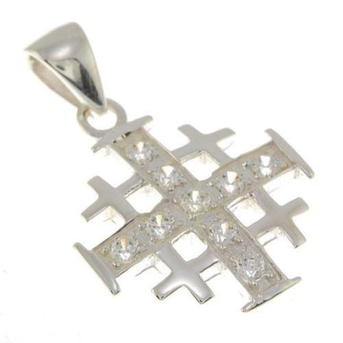 Jerusalemkreuz-Anhänger Silber mit weißem Edelstein + Halskette aus 925er-Silber