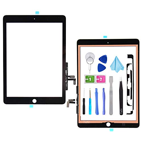 Tefir Schwarz Digitizer Repair Kit für 2017 iPad 9.7 (A1822, A1823) / iPad 5 iPad Air 1 Touchscreen Digitizer Ersatz (ohne Home-Button) mit Werkzeug + Vorinstalliertem Klebstoff