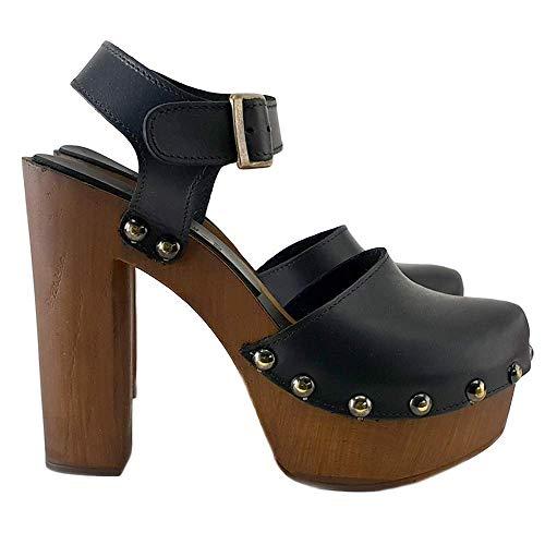 Kiara Shoes Zoccoli Svedesi Alti - Cuoio Nero Made in Italy - MY462-NERO (Nero, Numeric_38)