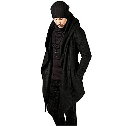 Men's Long Sleeve Trench Hooded Cardigan Coat Irregular Hem Open Front Jackets Loose Fit Windbreaker Overcoat(Black-3XL)