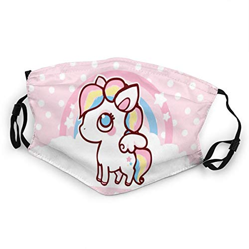 WLYDYS Fashion Rainbow Horse Halloween Kids Filter Face Mask Anti Dust Adjustable Protection Masks Breathable Mouth Mask Mouth Cover Scarf Mask Outdoor Washable and Reusable Waterproof for Boys Girls