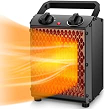 Space Heater – TRUSTECH Portable Heater with Adjustable Thermostat & Overheat Protection, Ceramic Electric Heater for Home, Office and Indoor Use, 3 Quiet Settings & Easy-Grip Carry Handle, 750W/1500W