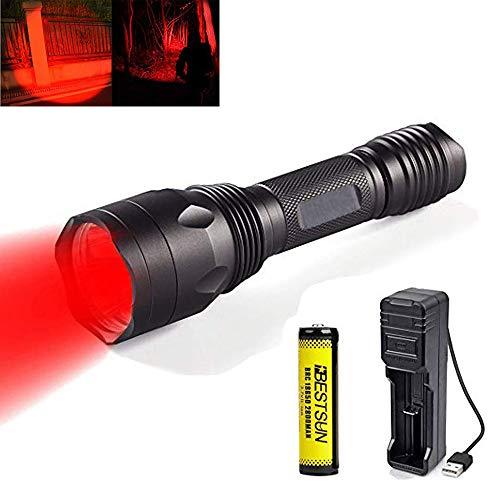 Linterna de luz roja, linternas con luz roja Antorcha de caza recargable...