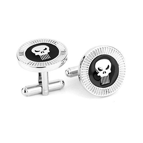Beaux Bijoux Paire de boutons de manchette pour homme en forme de crâne Thème The Punisher