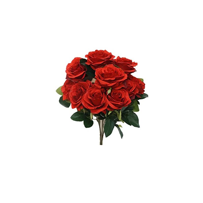 silk flower arrangements sweet home deco 18'' princess diana rose silk artificial flower valentine's day (10 stems/10 flower heads), the most beautiful roses for wedding/home decor (red1)