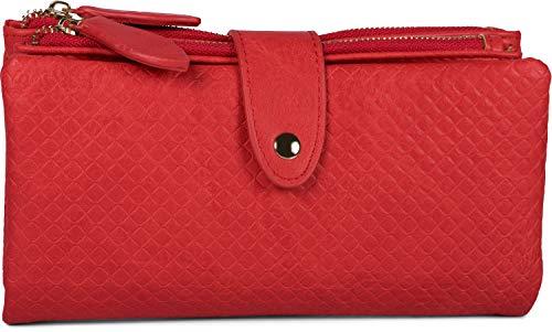 styleBREAKER Portafoglio donna con superficie quadrata in rilievo, chiusura a scatto, portafoglio con cerniera, look retrò 02040132, colore:Rosso