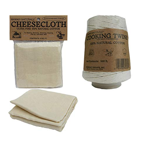 Regency Wraps Set Natural Ultra Fine Cheesecloth 9 sq Cooking Twine Cone 500 ft, ft ft