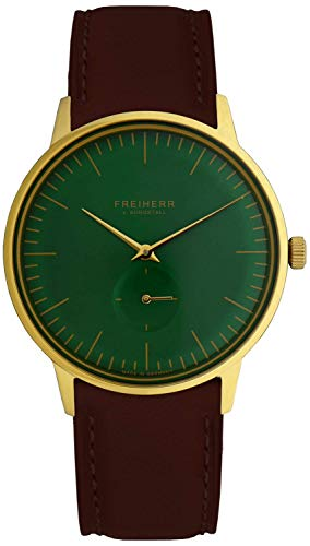 Freiherr Munich Quartz Watch with Leather Wriststrap - Men & Women - Brown/Green