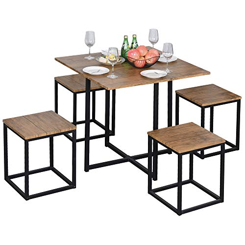HOMCOM 5 PCS Industrial Table & Stool Set w/Metal Frame Home Dining Stylish Square Compact Seating Chair Beautiful Cool Black Brown
