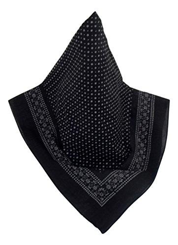 Nickituch mit Punkt-Muster schwarz | Bandana aus 100% Baumwolle | 70 x 70 cm | Halstuch | Teichmann